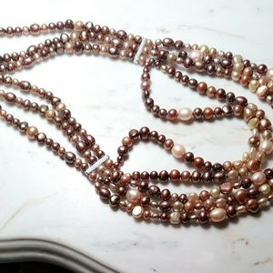 Cultured freshwater pearl necklace.Brown shades